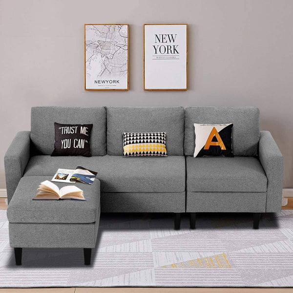 Convertible Couch Sectional Sofa Couch Modern Linen Fabric L-Shape Couch, 3 Piece Living Room Furniture Sets with Chaise Lounge, Dark Gray