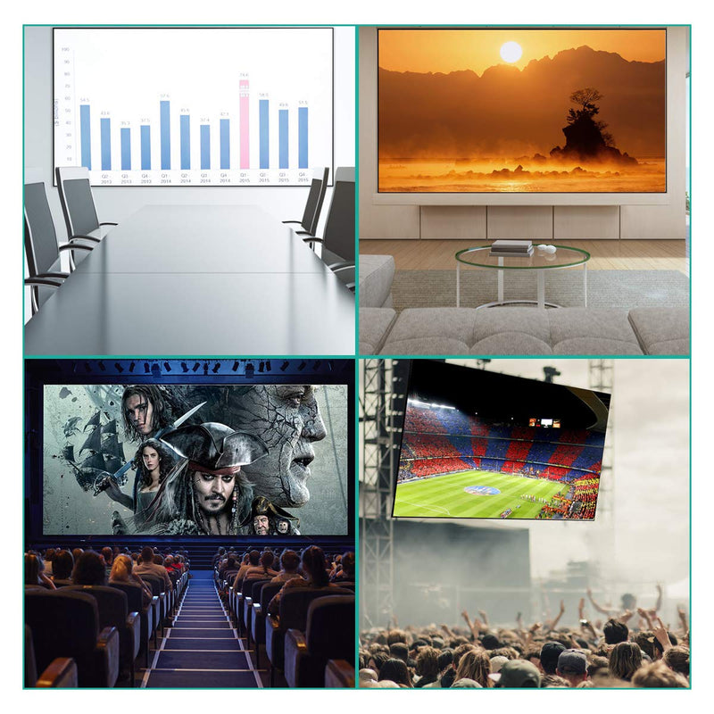 120 inch Projector Screen Wide-Angle Widescreen Portable 16:9 HD