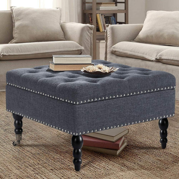 "29"" Square Tufted Button Storage Ottoman Table Bench with Rolling Wheels Nailhead Trim Linen Fabric Foot Rest Stool/Seat for Bedroom, living Room and Hallway (Gray)"