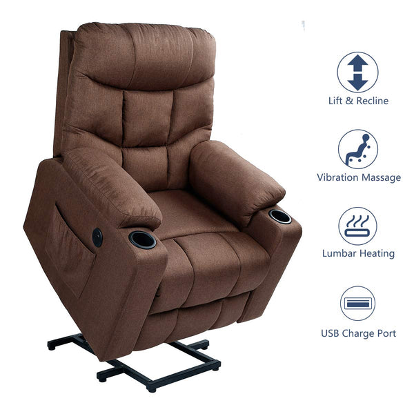 Power Lift Chair Electric Recliner for Elderly Heated Vibration Fabric Sofa Motorized Living Room Chair with Side Pocket and Cup Holders, Brown