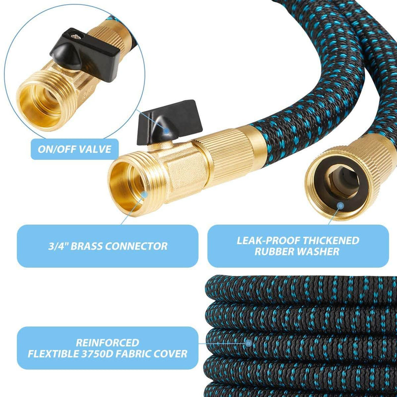 Expandable Garden Hose 50ft/Ultra Strength 3750D/Flexible and Durable 4-Layers Latex/Superior Strong Brass Connectors/10-Way Heavy Duty Zinc Water Spray Nozzle/ 2-Way Splitter
