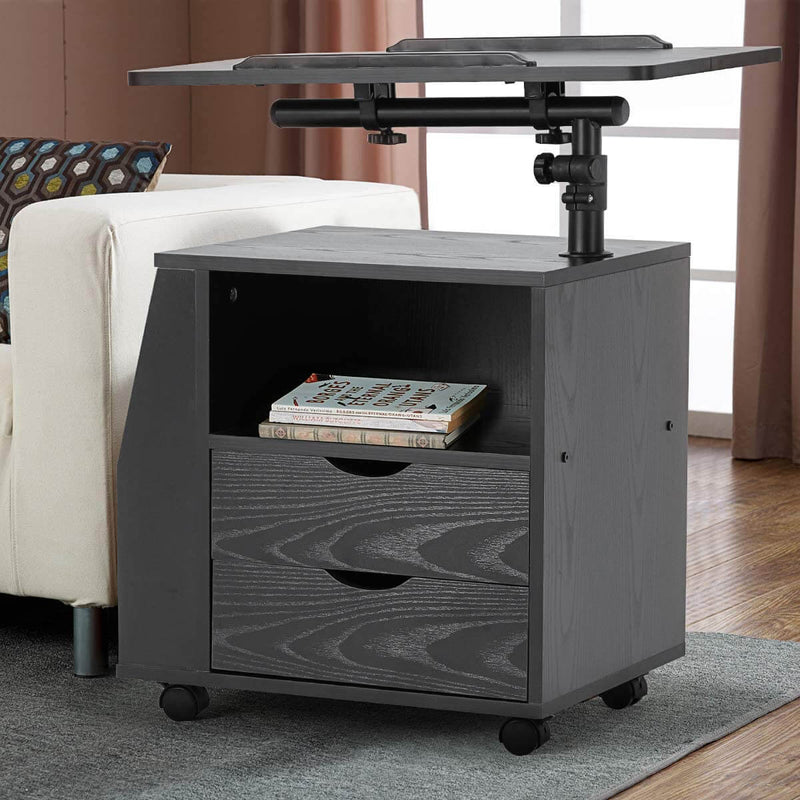 Bedside Table Height Adjustable End Table,Wooden Nightstand with Swivel Top,Storage Drawers & Universal Wheels, Black