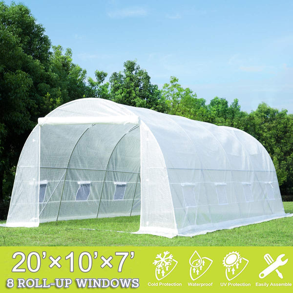 20' x 10' x 7' Tunnel Greenhouse Walking in Greenhouse, Large Grow Greenhouse Plant Hot House, White