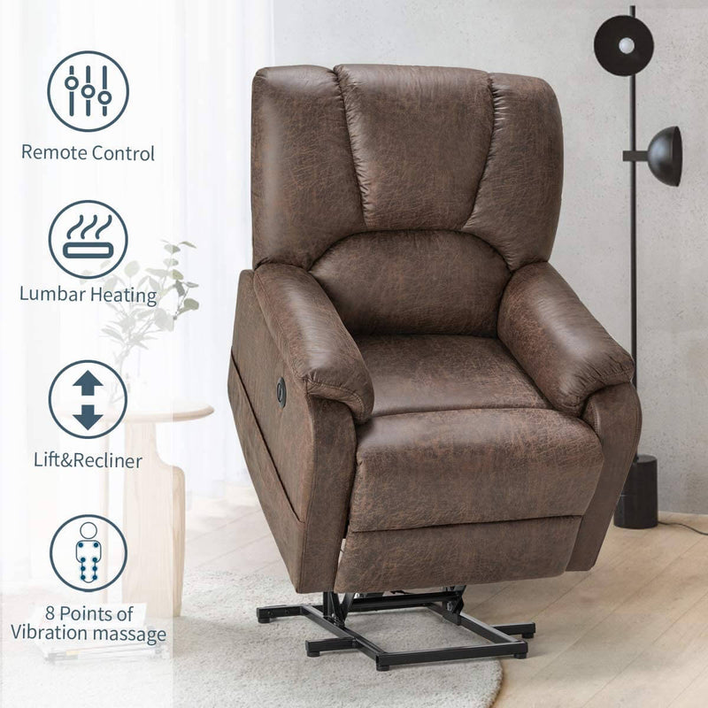 Electric Power Lift Recliner Chair Sofa with Massage and Heat for Elderly, Faux Leather Recliner Chair with Side Pockets & USB Port, Nut Brown