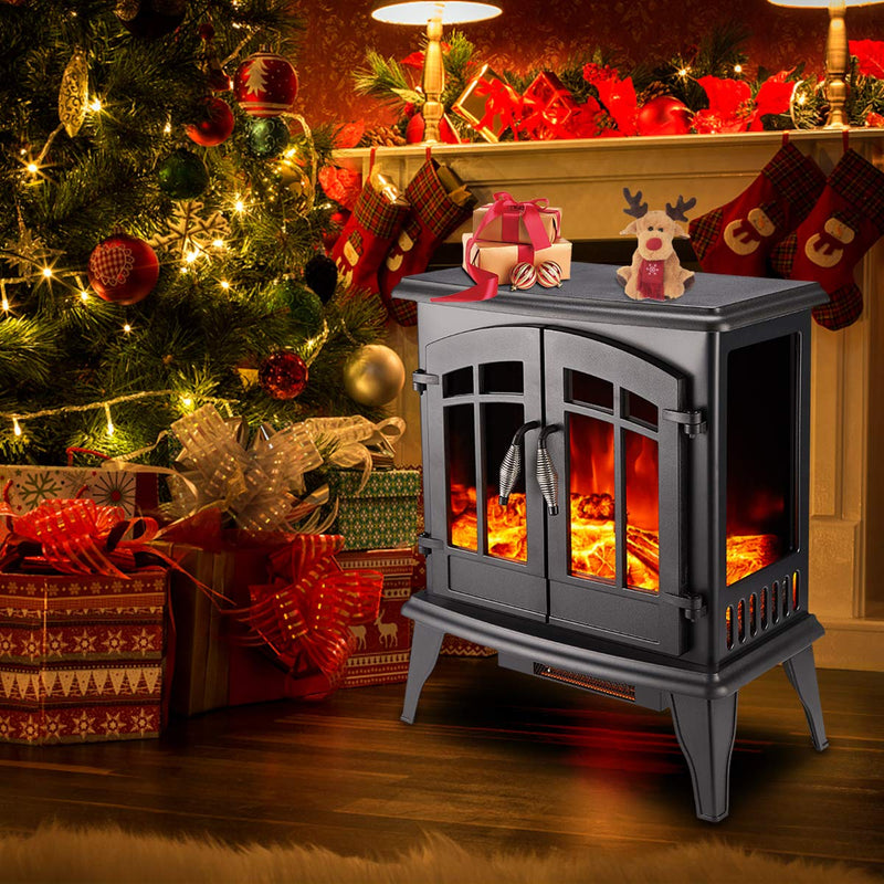 "Decors-A Electric Fireplace Heater,23"" Freestanding Portable Electric Stove Heater with Realistic Log Frame,Black"