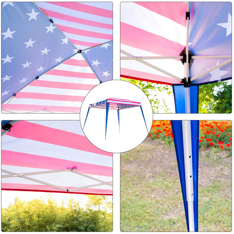 10×20ft Folding Pop Up Canopy Tent American Flag Print Portable Slant Leg Shelter with Carry Bag