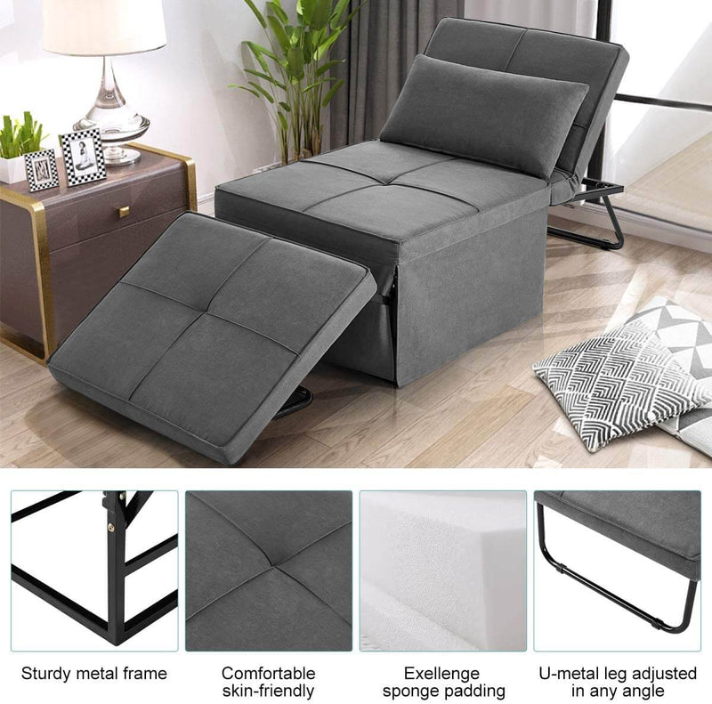 Folding Ottoman Sleeper Guest Bed, 4 in 1 Multi-Function Adjustable Guest Sofa Chair Sofa Bed (Beige Grey)