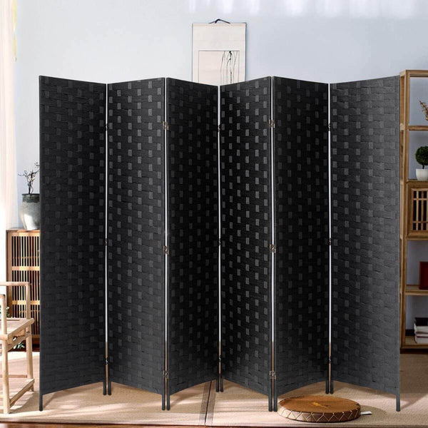 6 Panels Room Divider, 6 FT Tall Weave Fiber Room Divider, Double Hinged Folding Privacy Screens, Freestanding Room Dividers, Black