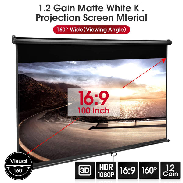 Homhum 1.2 Gain Projector Screen Manual Pull Down 100 inch 16:9 Projection Movies Screens 4K HD 1080P Wrinkle-Free for Home Theater School Office Indoor