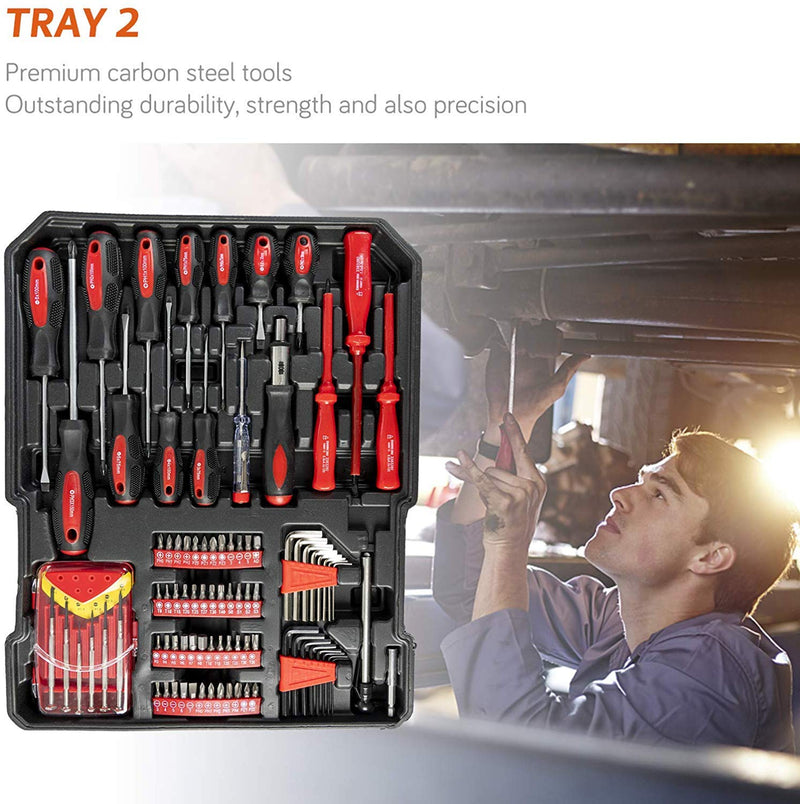 Tool Box with Tools 799pcs Household Tool Set with Aluminum Trolley Case Silver