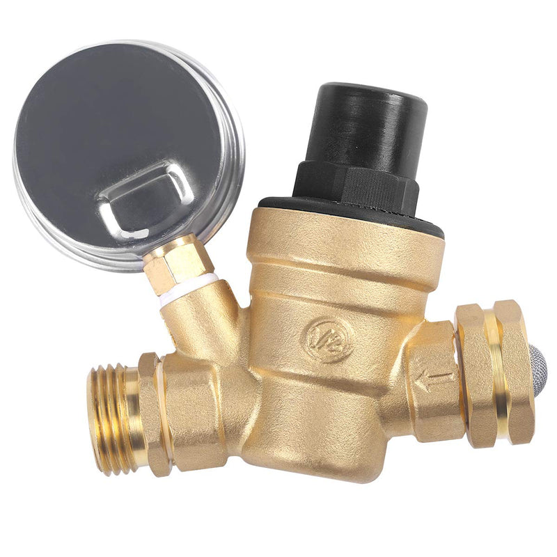Water Pressure Regulator Brass Lead Free, NH Thread for RV, Adjustable Plumbing with Guage