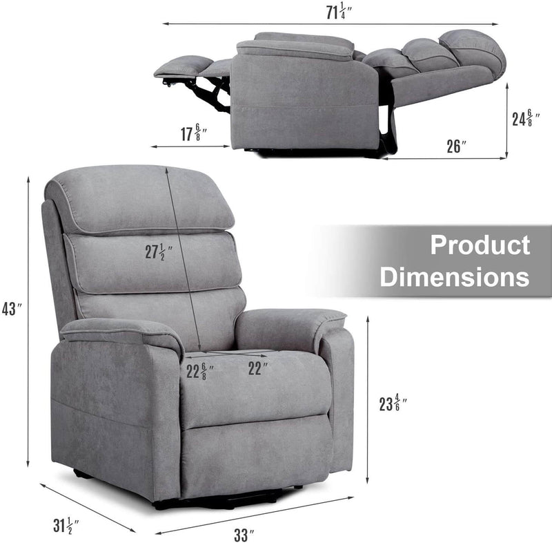 Dual Motor Electric Power Recliner Lift Chair, Linen Fabric Electric Recliner for Elderly, Heated Vibration Massage Sofa with Side Pockets & Remote Control, Gray