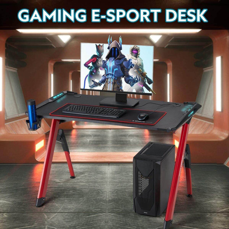 "47"" Ergonomic Gaming Desk Home Office Desk RGB LED Light PC Computer Table with Cup Holder & Headphone Hook, Racing Gaming Table, Red"
