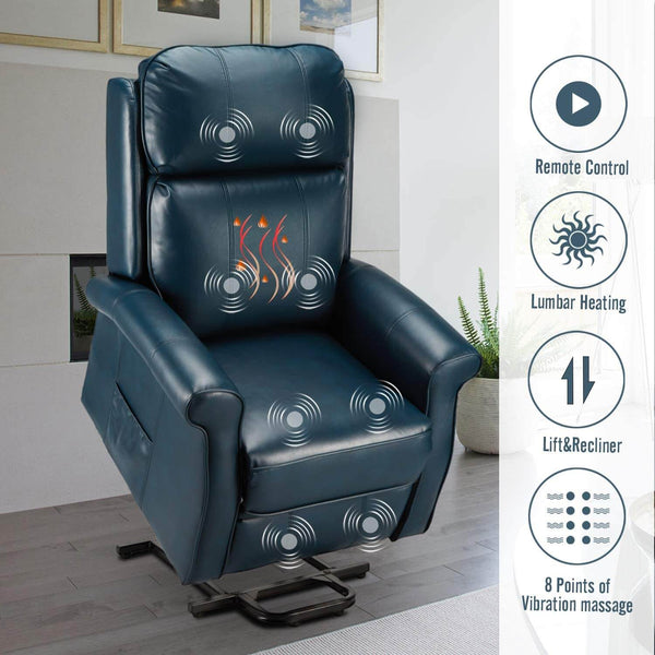 Electric Power Lift Recliner Chair, Faux Leather Electric Recliner for Elderly with Heated Vibration Massage, Side Pocket & Remote Control, Blue