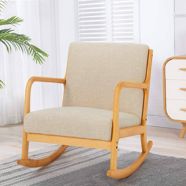 Fabric Rocking Chair, Mid-Century Glider Rocker with Padded Seat, with Ottoman, Seat Wood Base, Linen Accent Chair for Living Room
