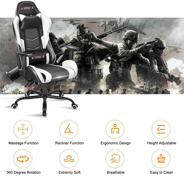 Gaming Chair Massage Ergonomic Office Chair High Back Computer Chair Racing PU Leather Recliner with Headrest & Lumbar Pillow, Black & White