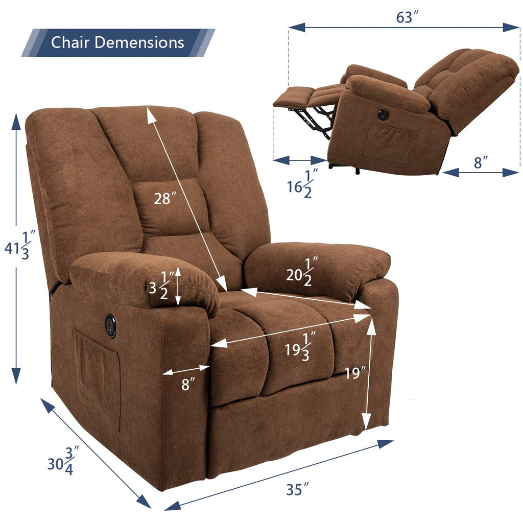 Homhum Microfiber Power Lift Electric Recliner Chair With Heated Vibration Massage Sofa Fabric Living Room Chair With 2 Side Pockets Usb Charge Port
