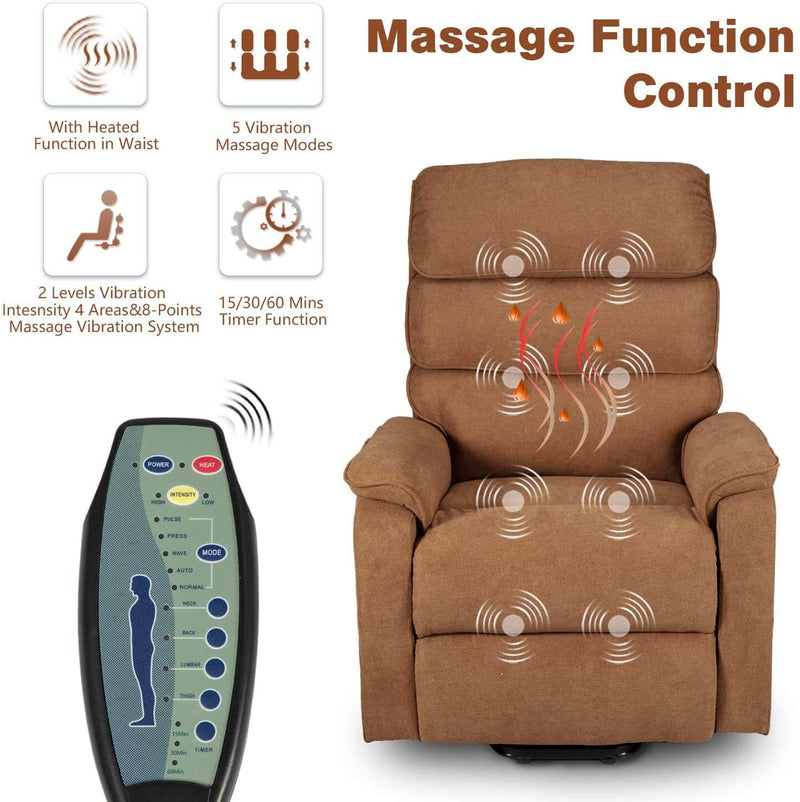 Dual Motor Electric Power Recliner Lift Chair Linen Fabric Electric Recliner for Elderly, Heated Vibration Massage Sofa with Side Pockets & Remote Control, Brown