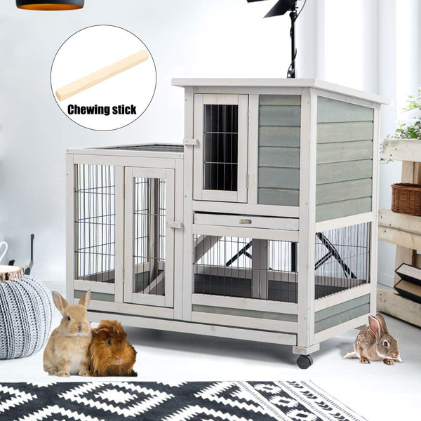 Rabbit Hutch Pet House for Small Animals Indoor & Outdoor (37 inches)