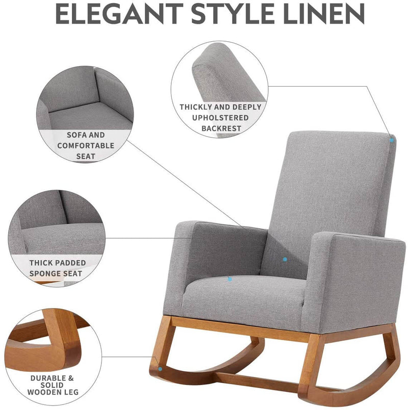 Rocking Chair Mid Century Accent Chair Glider Rocker, Seat Wood Base, High Back Linen Armchair, Gray