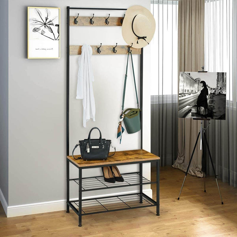 Industrial Coat Rack, Hall Tree Entryway Shoe Bench, Storage Shelf Organizer, Accent Furniture with Metal Frame