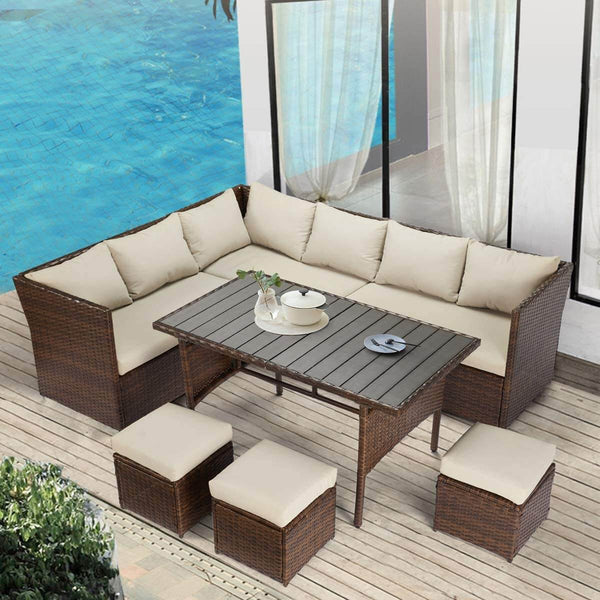 Outdoor Patio Sectional Furniture Set, 7 Pcs Outdoor Conversation Sets, Patio Dining Sets All Weather Wicker Sectional Sofa with Ottoman, Brown