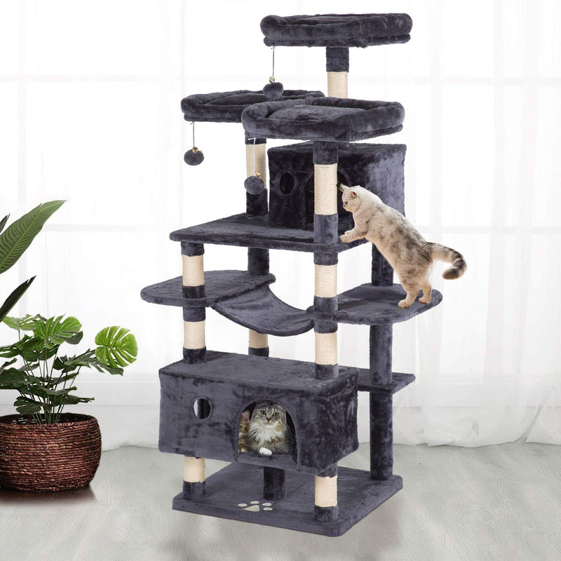 63 inches Large Cat Tree Tower Play Condo Scratching Posts Activity Furniture (Free Gifts)