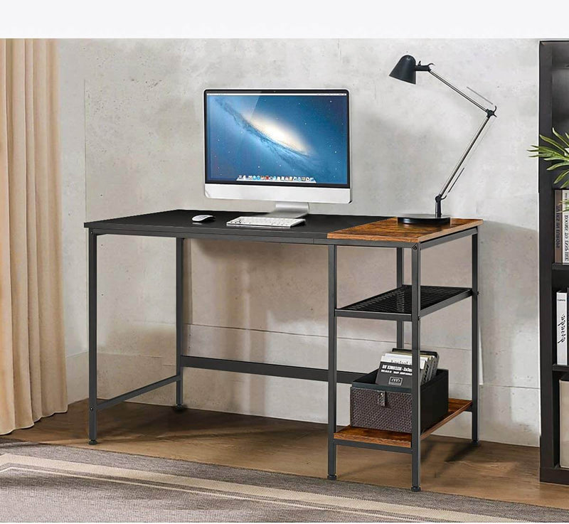 Industrial Computer Desk, 47 Inch Writing Desk with 2 Storage Shelves, Stable Metal Frame, Easy Assembly
