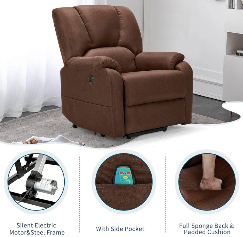 Electric Power Lift Recliner Chair Sofa with Massage and Heat for Elderly, Microfiber Recliner Chair with Side Pockets & USB Port, Brown