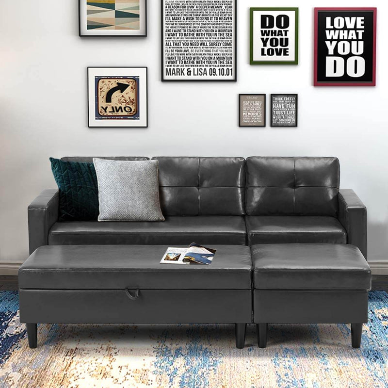 Small Faux Leather Sectional Sofa with Storage Ottoman and Chaise Lounge, 3-Seat Living Room Furniture Sets for Small Apartment, Dark Gray