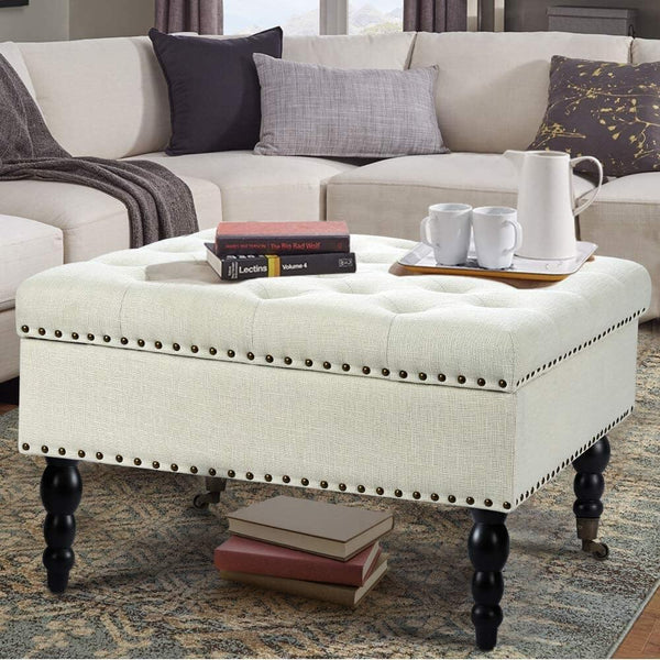 "29"" Square Tufted Button Storage Ottoman Table Bench with Rolling Wheels Nailhead Trim Linen Fabric Foot Rest Stool/Seat for Bedroom, living Room and Hallway (Beige)"