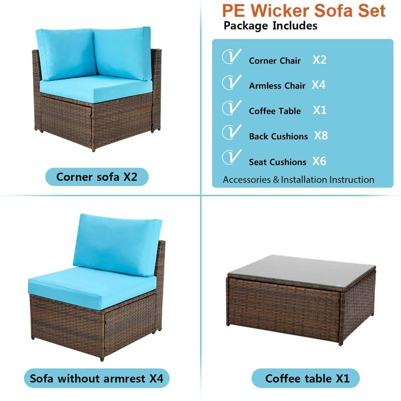 7 Pcs Patio Furniture Set, Wicker Rattan Conversation Sets, Outdoor Small Sectional Sofa Set, Blue Cushion