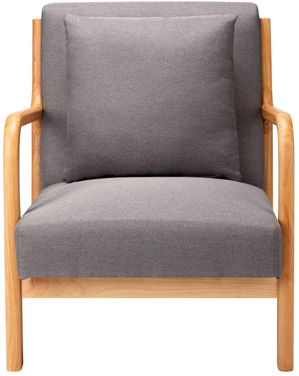 Mid Century Accent Chair Wood Frame Madison Charcoal Lounge Chair Fabric Club Chair Grey