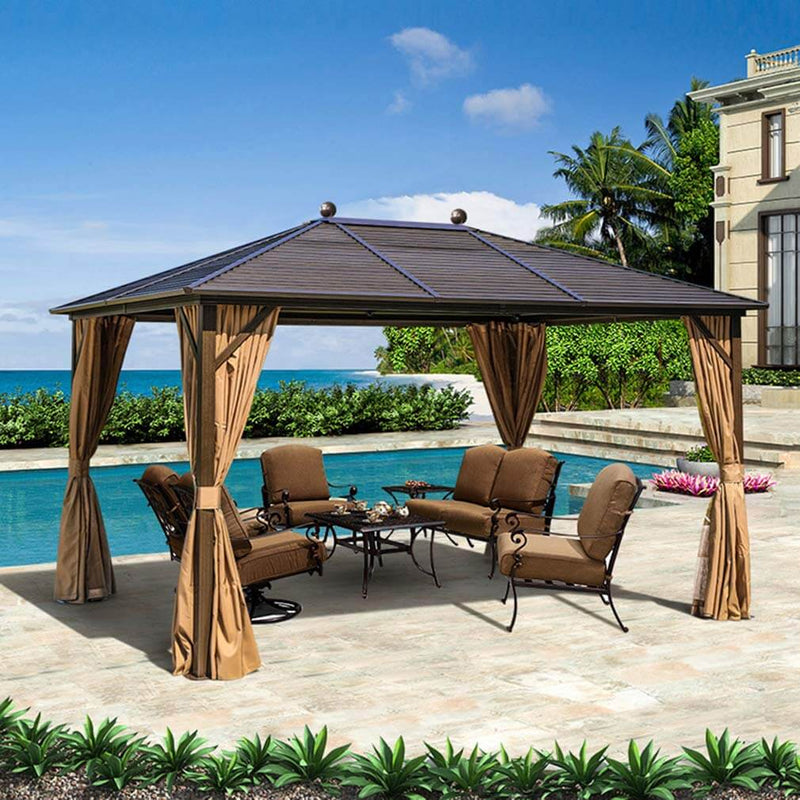 10 x 13ft Outdoor Galvanized Steel Hardtop Gazebo Canopy Aluminum Frame Pergolas with Netting Curtains