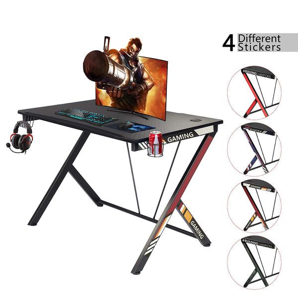 "Gaming Desk 43.5"" with Cup Holder and Headphone Hook Gamer Workstation"