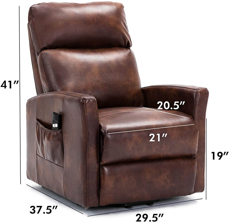Lift Recliner Chair, Overstuffed Lift Chairs for Elderly with Remote, 3 Position & Side Pocket, Power Reclining Chair for Living Room, Faux Leather, Red Brown