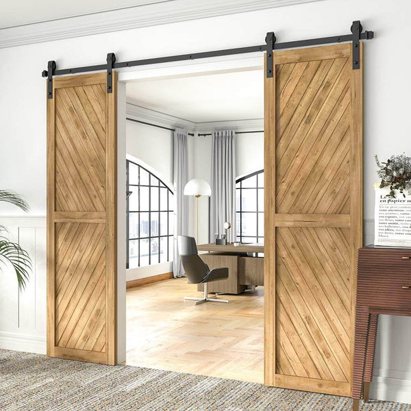 8FT Double Barn Door Hardware J Shape Carbon Steel Bi-parting System 96inch