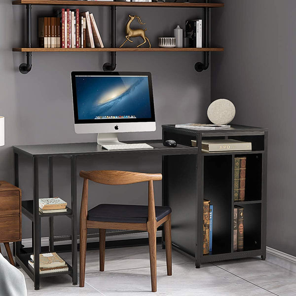 Computer Desk with Storage Bookshelves 47 inch Modern Sturdy Writing Desk for Home Office Black