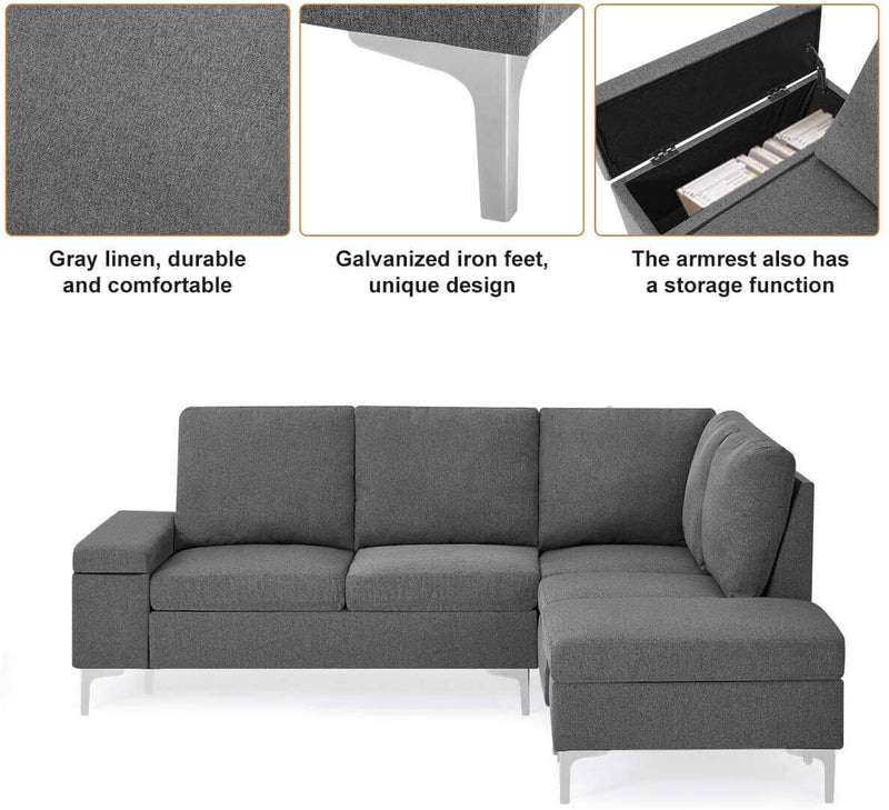 Convertible Sectional Sofa Couch with Ottoman, Sofa Armrest with Storage Function, L-Shaped Sofa with Gray Linen Fabric, for Living Room or Apartment (Right)