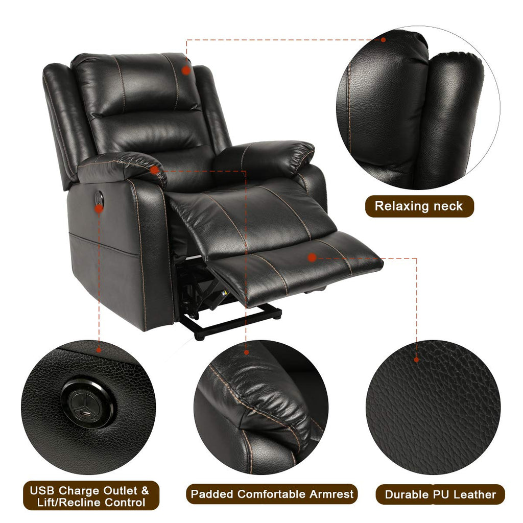 Swell Esright Power Lift Chair Faux Leather Electric Recliner For Elderly Heated Vibration Massage Sofa With Side Pockets Usb Charge Port Remote Ibusinesslaw Wood Chair Design Ideas Ibusinesslaworg