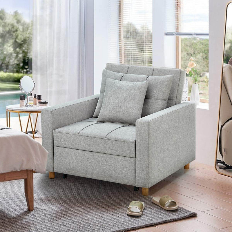 Sofa Bed 3-in-1 Convertible Chair Multi-Functional Adjustable Recliner, Sofa, Bed, Modern Linen Fabric, Light Gray