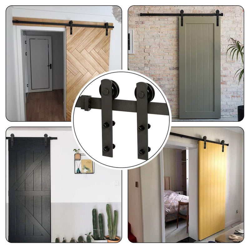 5-12 FT Sliding Barn Wood Door Hardware Kit - Smoothly and Quietly