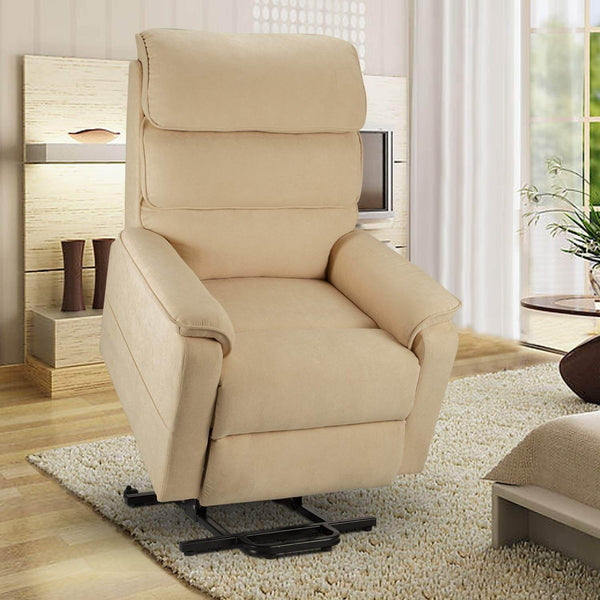 Dual Motor Electric Power Recliner Lift Chair, Linen Fabric Electric Recliner for Elderly, Heated Vibration Massage Sofa with Side Pockets & Remote Control, Cream Beige