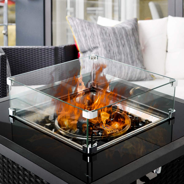 Fire Pit Tempered Glass Wind Guard Glass for Wicker Gas Fire Pit Square Table