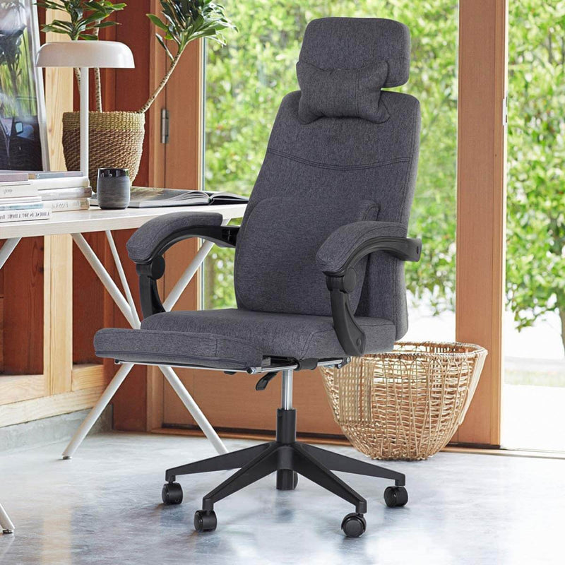 Ergonomic Office Chair, High Back Adjustable with Footrest and Headrest Desk Chairs with Flip Up Armrests and Lumbar Support, Dark Gray