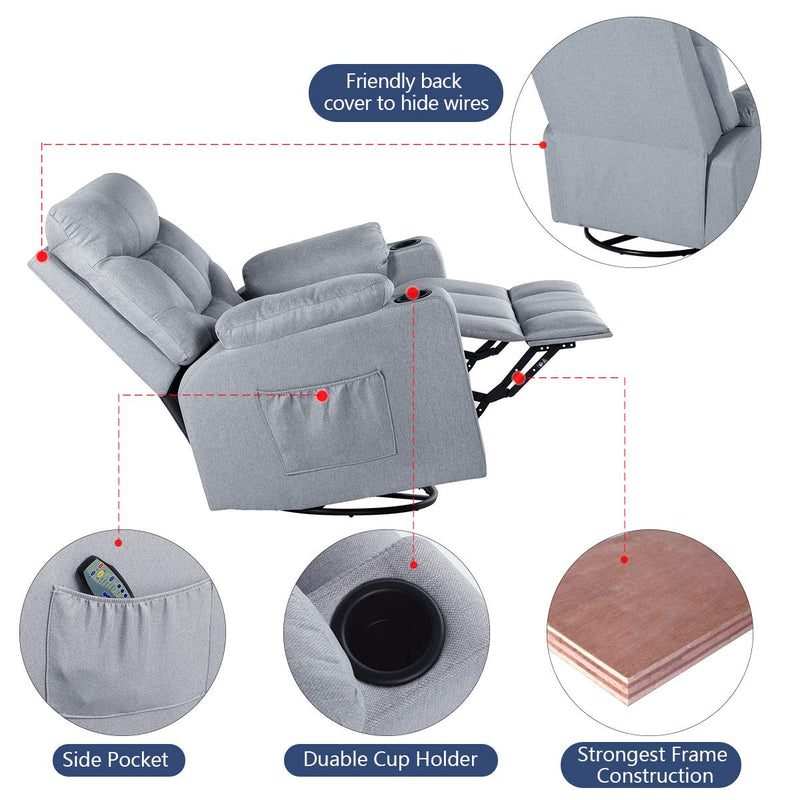 Grey Fabric Massage Recliner Chair 360 Degrees Swivel Heated Ergonomic Lounge Chair