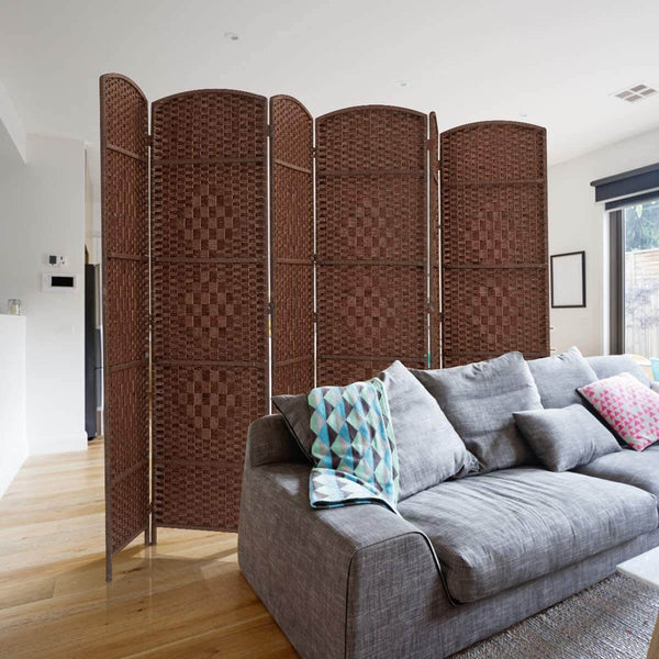Room Divider,6 FT Tall Weave Fiber Room Divider,Double Hinged, 6 Panel Room Divider & Folding Privacy Screens, Freestanding Brown Room Dividers