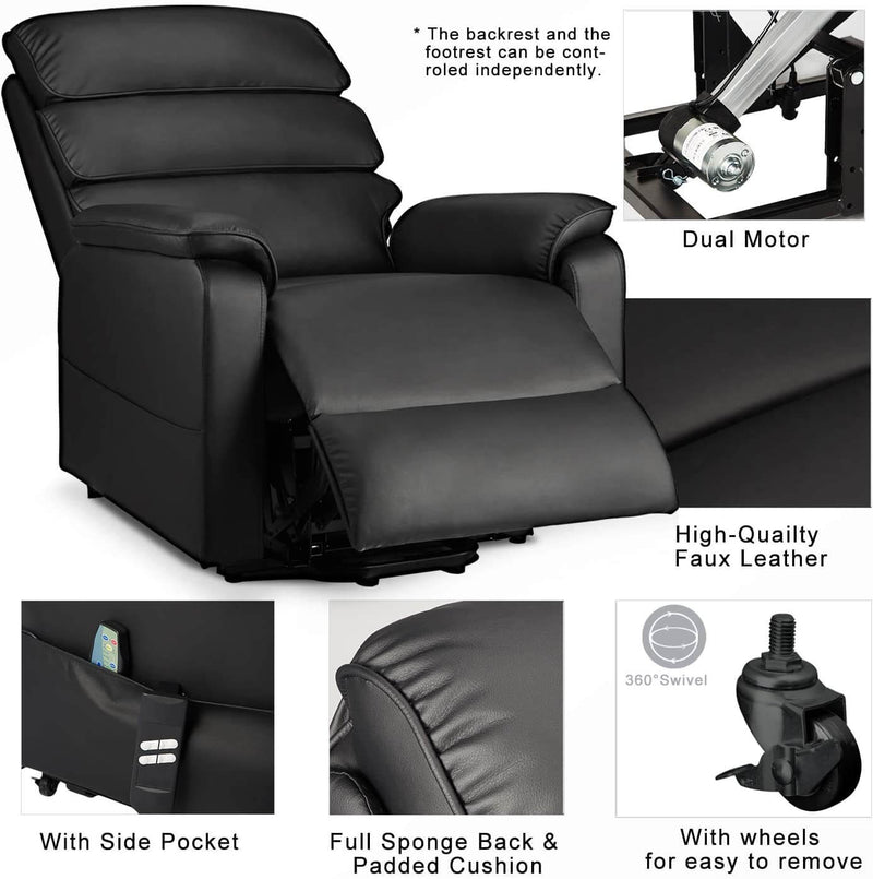 Electric Power Recliner Lift Chair Dual Motor Faux Leather Electric Recliner for Elderly, Heated Vibration Massage Sofa with Side Pockets & Remote Control, Black