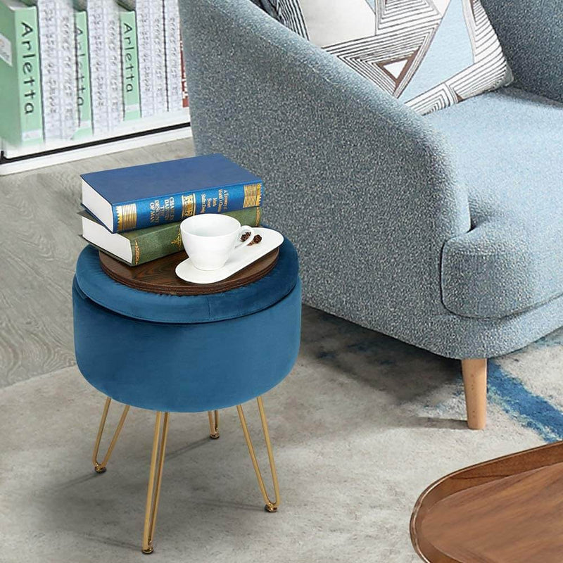 Velvet Footrest Storage Ottoman Round Modern Upholstered Vanity Footstool Side Table Seat Dressing Chair with Golden Metal Leg, Blue