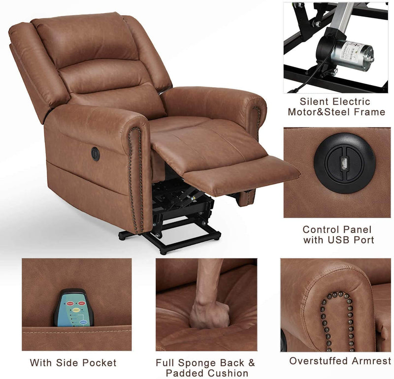 Power Lift Recliner Chair for Elderly, Faux Leather with Rivet Design Electric Recliner Chair with Heated Vibration Massage, Side Pockets & USB Port, Saddle Brown